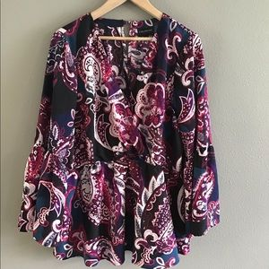 Lane Bryant Pasley bell sleeve blouse